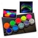 Sombras Pigmento UV Glow colores Neón brillan con la luz UV