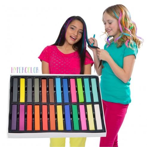Caja de 24 Tizas tinte temporal Hair Chalk el Cabello Mecha Mechones
