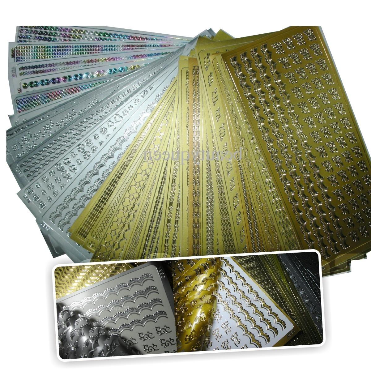 Kit Texturas 3D Metal Bordes y aplicativos adhesivos Nail Art Salon