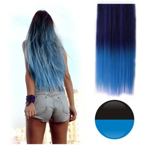 Cortina de Cabello Lisa Degradee Extensión Negro a Azul