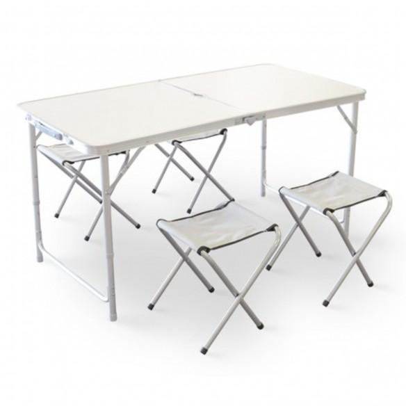 Mesa Portátil Plegable para Camping con 4 sillas