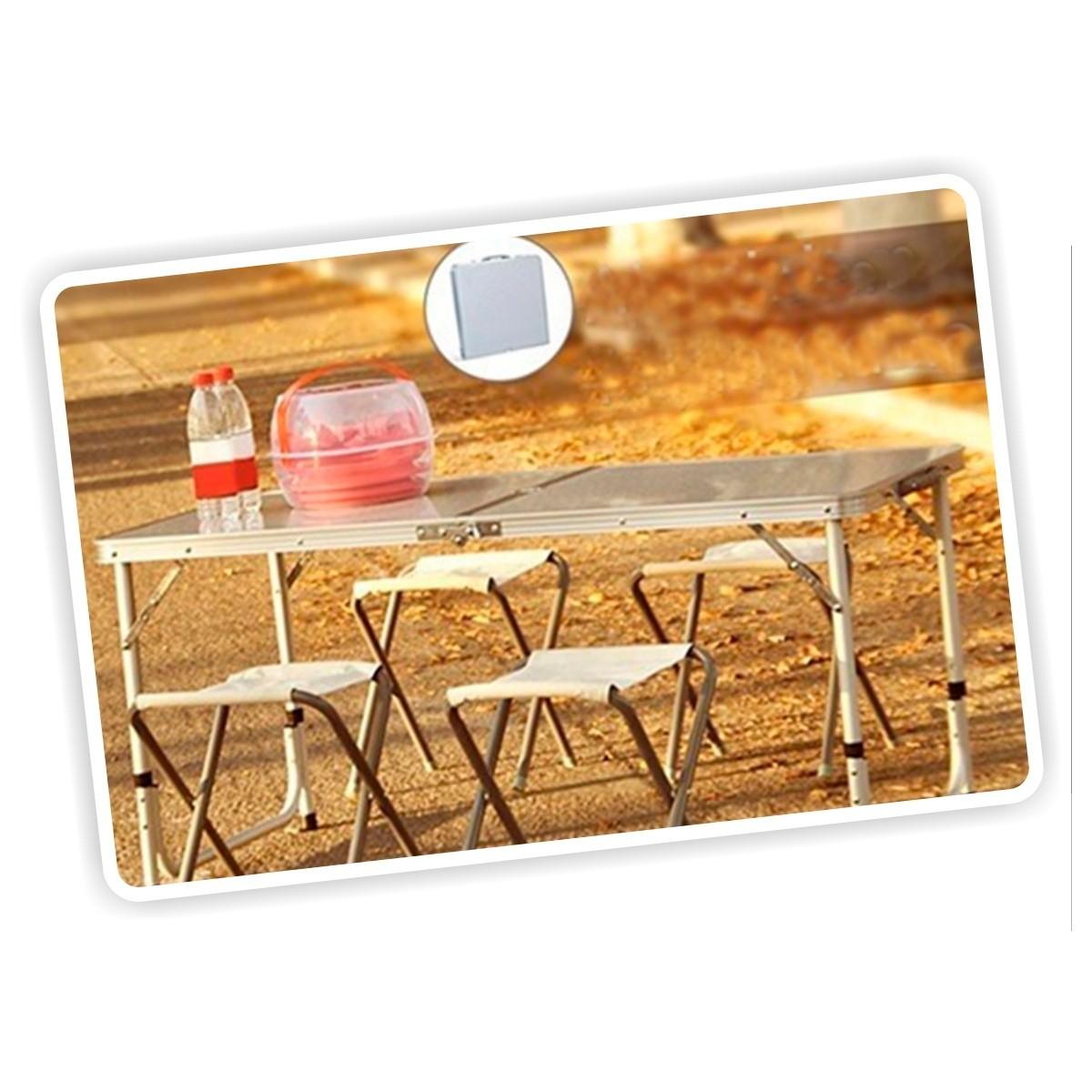 Mesa port til plegable para camping con 4 sillas maleta Mesas y sillas de camping