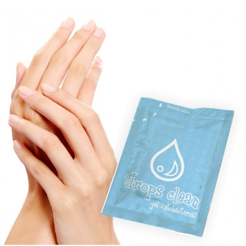Gel AntiBacterial Drops Clean limpia tus manos paq. x 50 sachets
