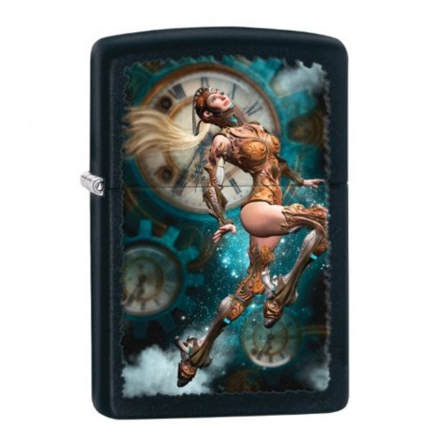 Encendedor Zippo Stamp Futuristic Lighter, Black Matte Negro