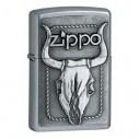Encendedor Zippo Texture Skull Bull - Plateado