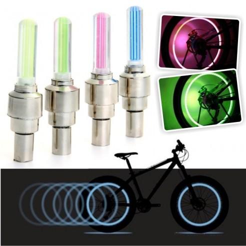 Led Tapa Válvulas de llantas con sensor en colores neón que alumbran al girar las ruedas