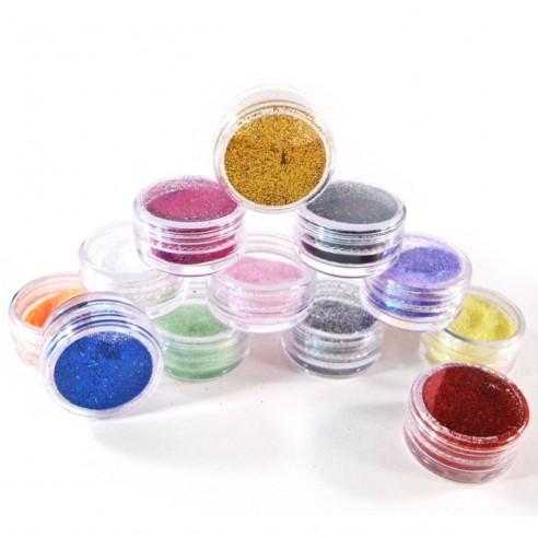 Kit de 12 Glitter para Decoración de Uñas con escarcha cosmética