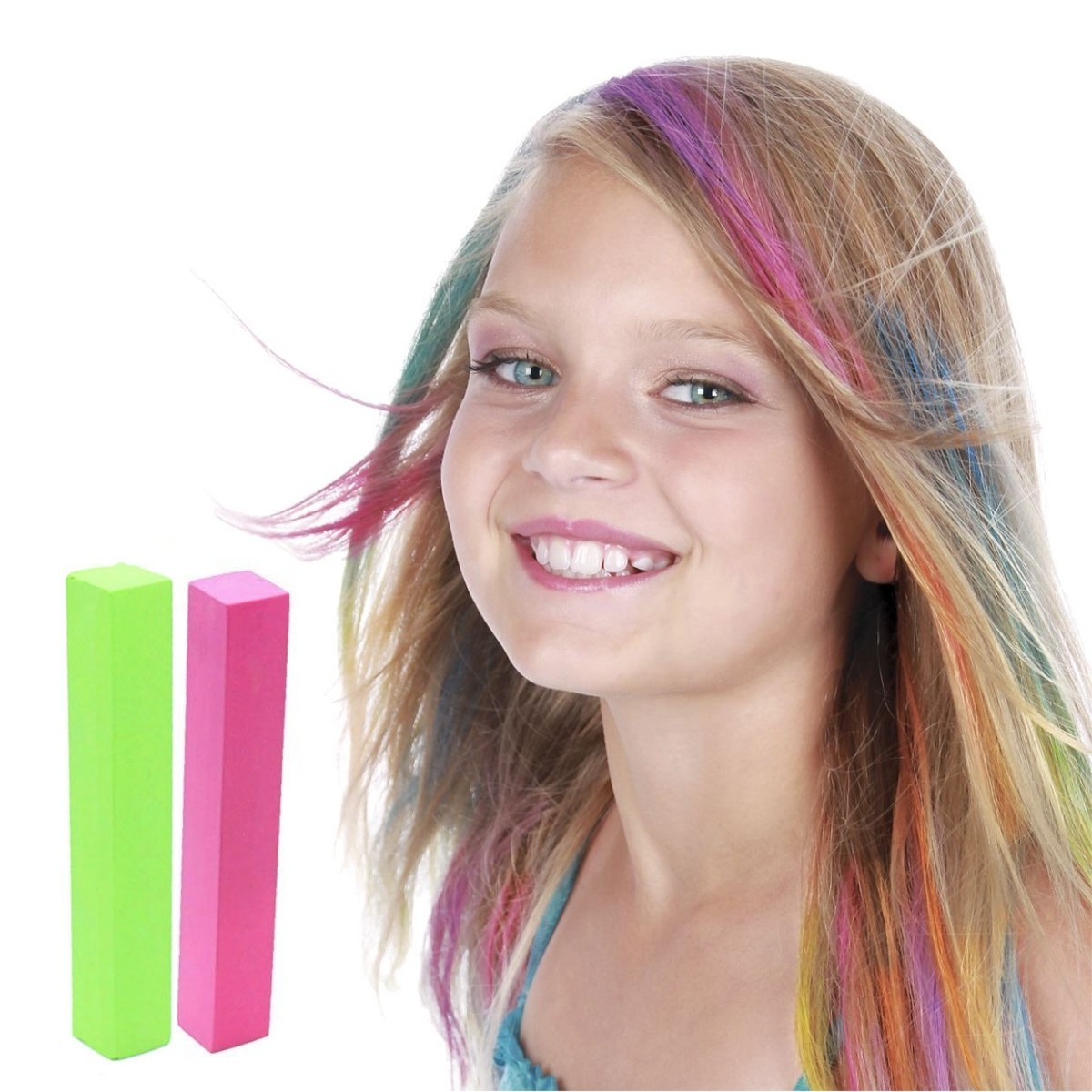 Tiza temporal color hair chalk para el cabello mechas y for Color marmoleado para cabello