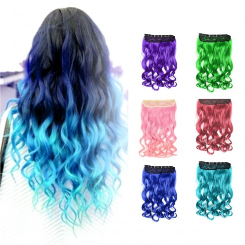 EExtension Ondulada Unicolor Cosplay tipo Cortina de cabello Eventos