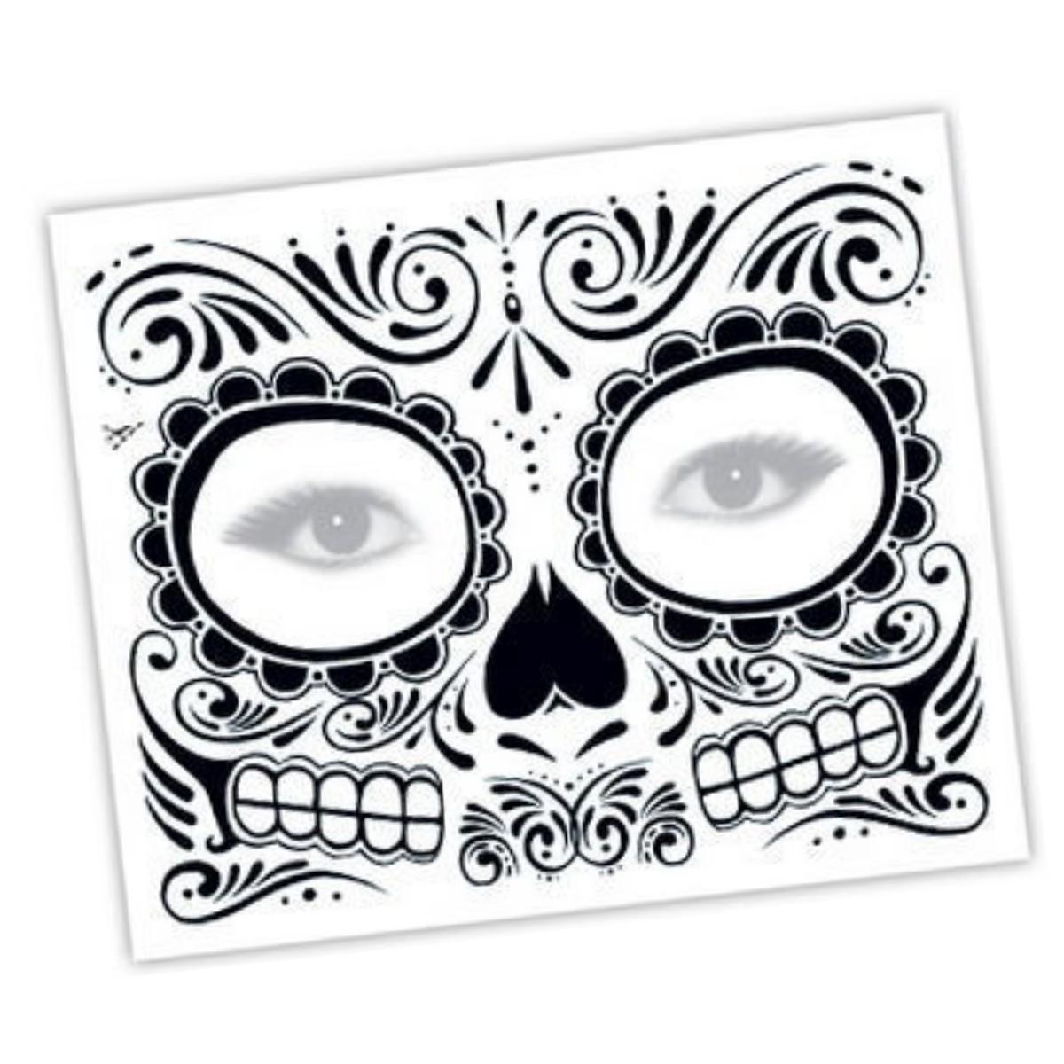 Tatuaje Temporal Mascara Dia De Los Muertos Maquillaje Ideal Eventos