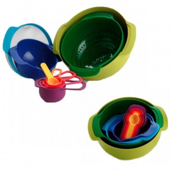 Set De 8 Bowls, tazas Colador Y Medidores Plásticos Multicolores