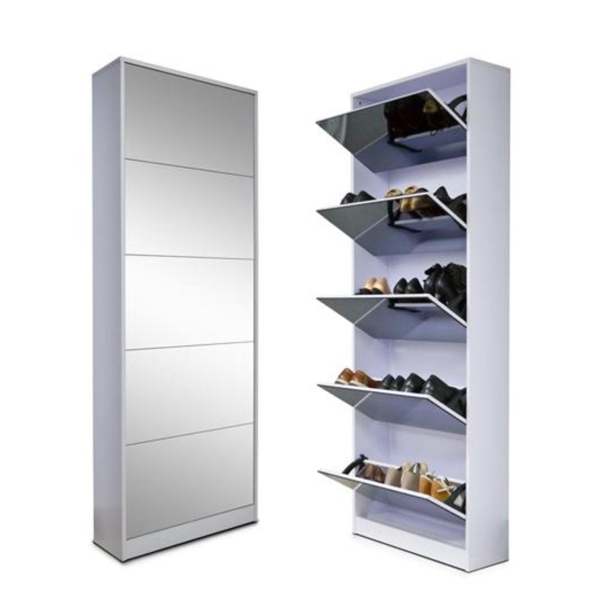 Mueble zapatero con espejo capacidad para 20 pares for Muebles para guardar zapatos y botas