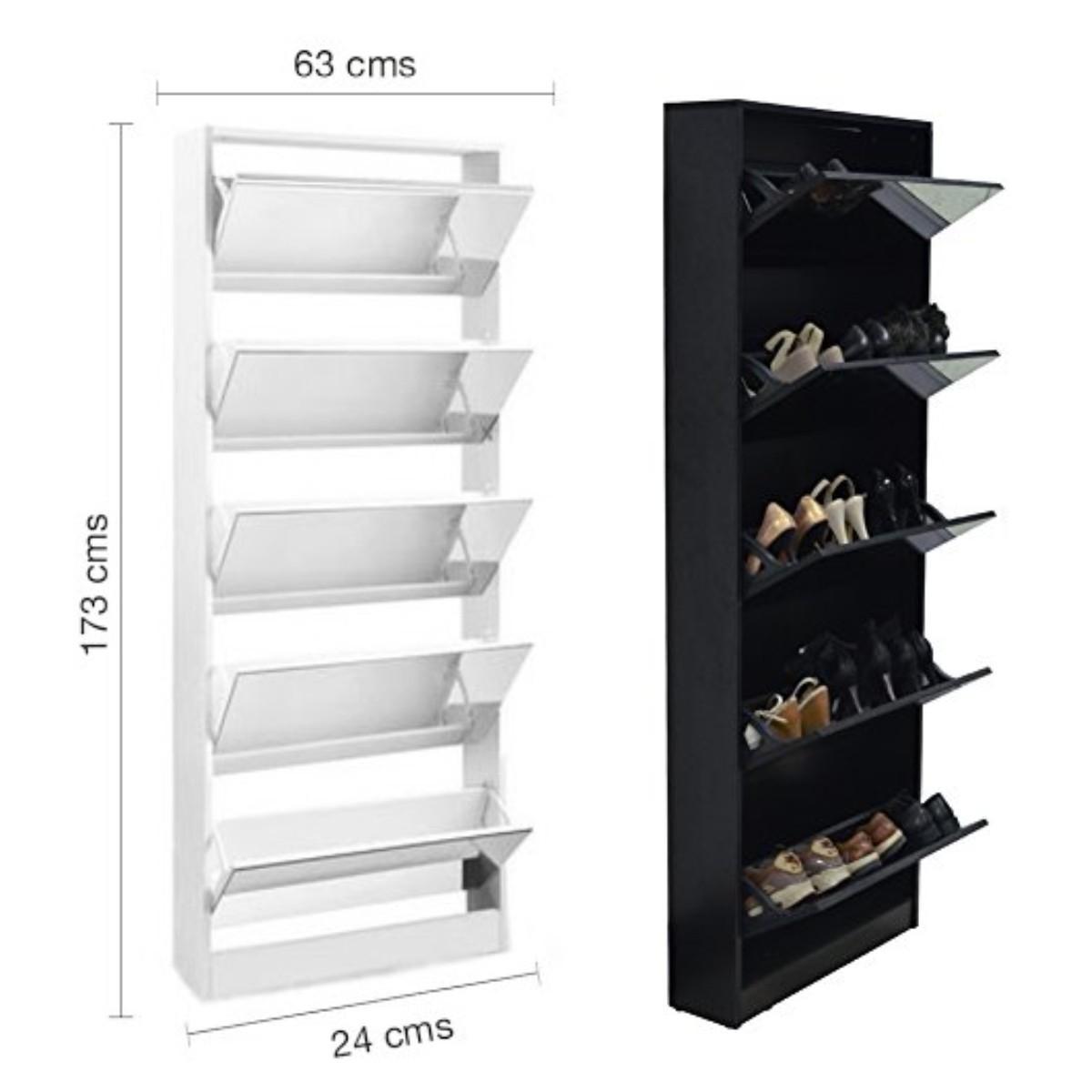 Mueble zapatero con espejo capacidad para 20 pares for Muebles zapateros de diseno