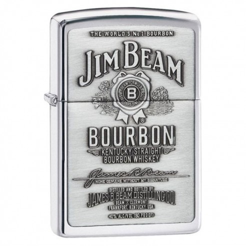 Encendedor Zippo Texture Jim Beam Bourbon Chrome Silver