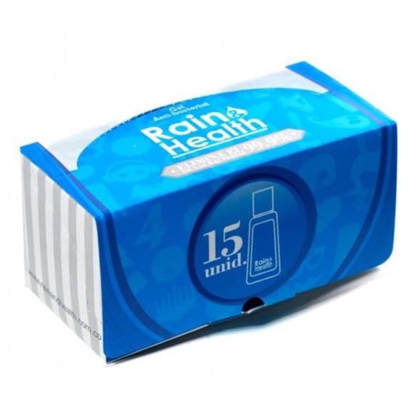 Un Kit de Gel AntiBacterial Rain Health limpia y desinfecta tus manos (15 unidades)