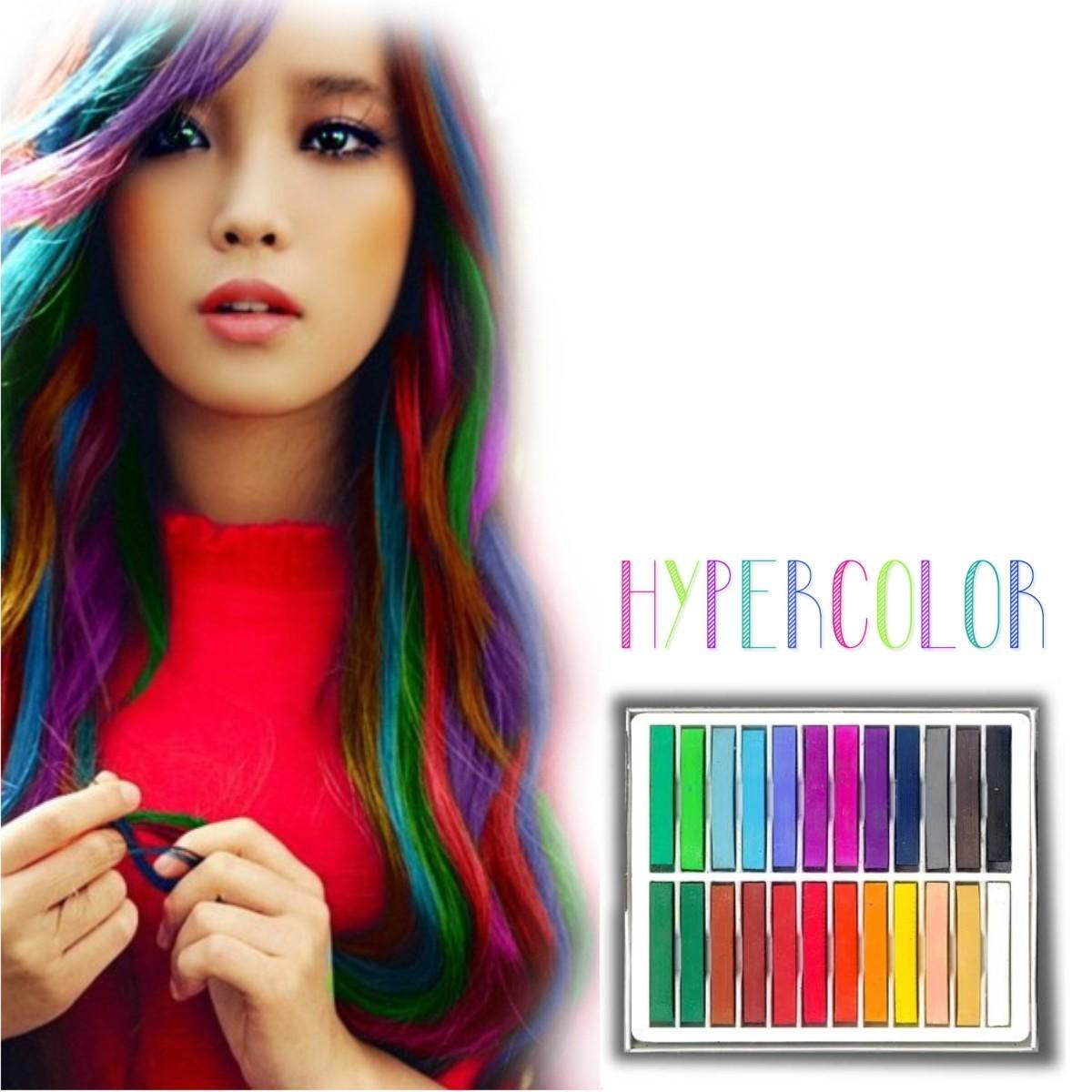 Caja de 24 Tizas tinte temporal Hair Chalk el Cabello Mecha Mechones 516a2192aef9