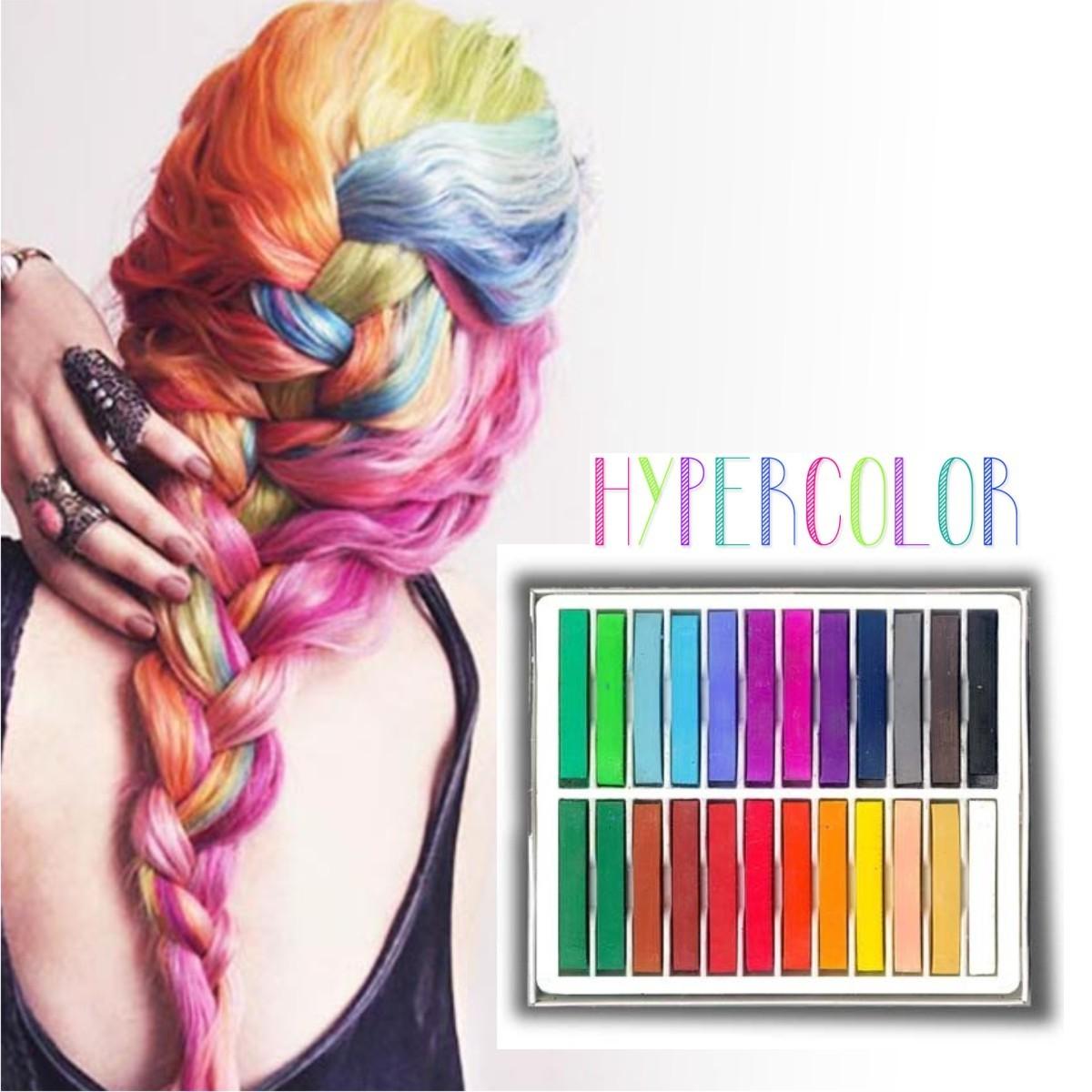 Caja de 24 Tizas tinte temporal Hair Chalk el Cabello