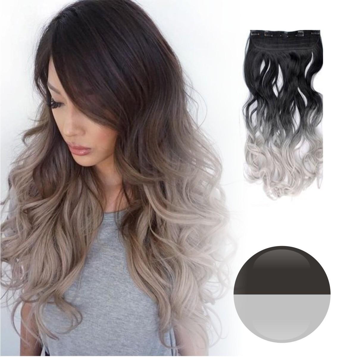 Cortina de cabello ondulada degradee gris a plata - Cortinas gris plata ...