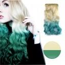 Cortina de cabello Ondulada Californianas Rubio Aguamarina Verde
