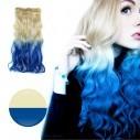 Cortina de cabello Ondulada Californianas Rubio Azul