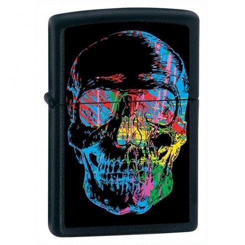 Encendedor Zippo Stamp Skull X-Ray Neon World 28042 Black Matte - Negro
