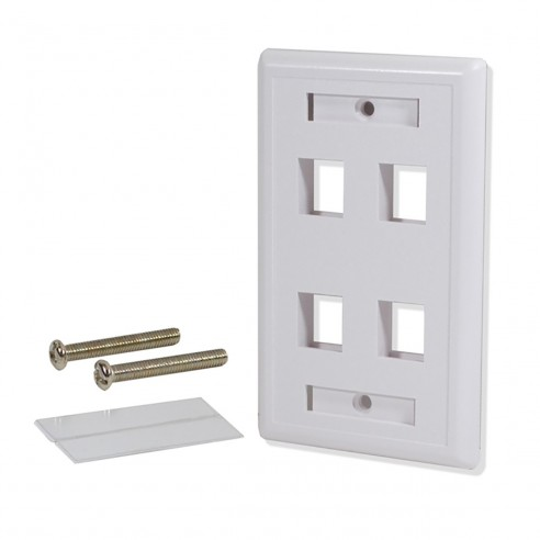 Tapa Face Plate Cuadruple en ABC para Red RJ45
