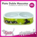 Comedero para mascotas plato doble diseño Circular en melamina