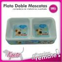 Comedero para mascotas plato doble diseño rectangular en melamina