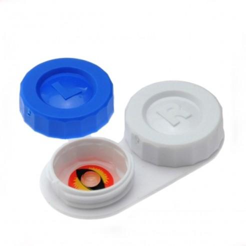 Estuche portalentes con tapa de rosca Para lentes de contacto blandos y gas permeable